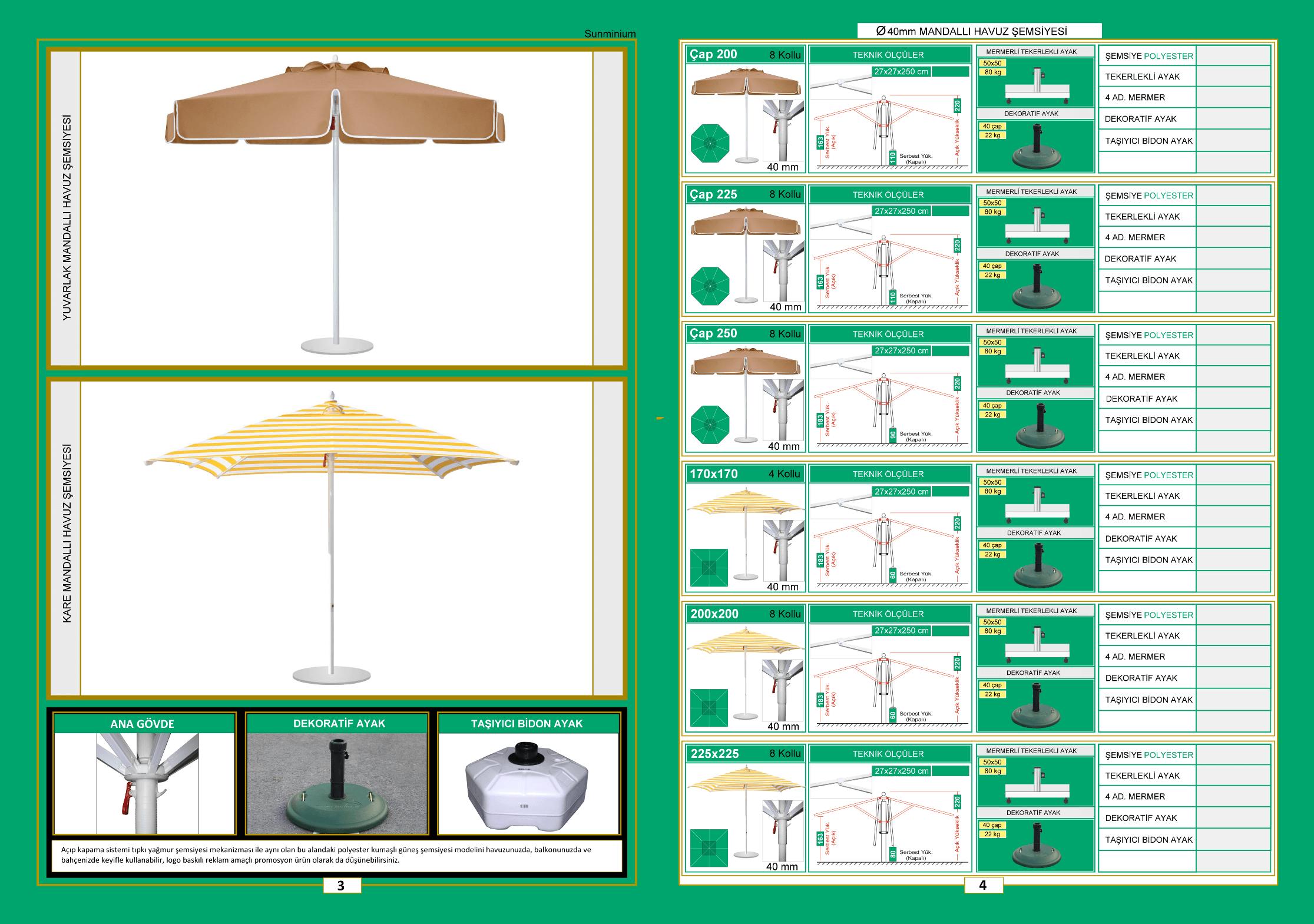 40 mm havuz şemsiyesi