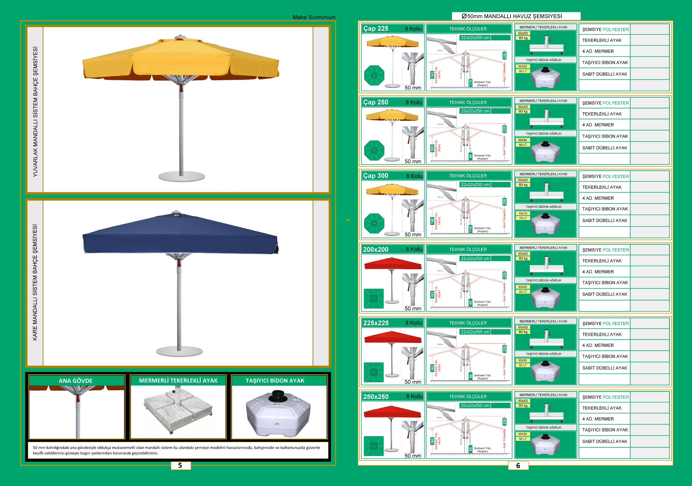 50 mm mandallı güneş şemsiyesi