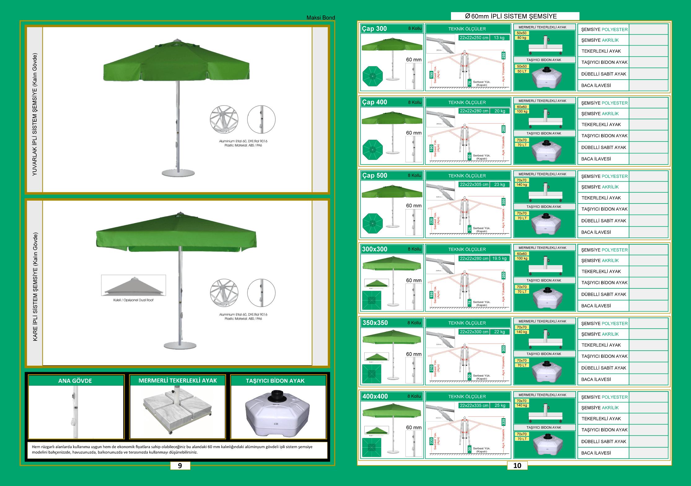 60 mm ipli şemsiye