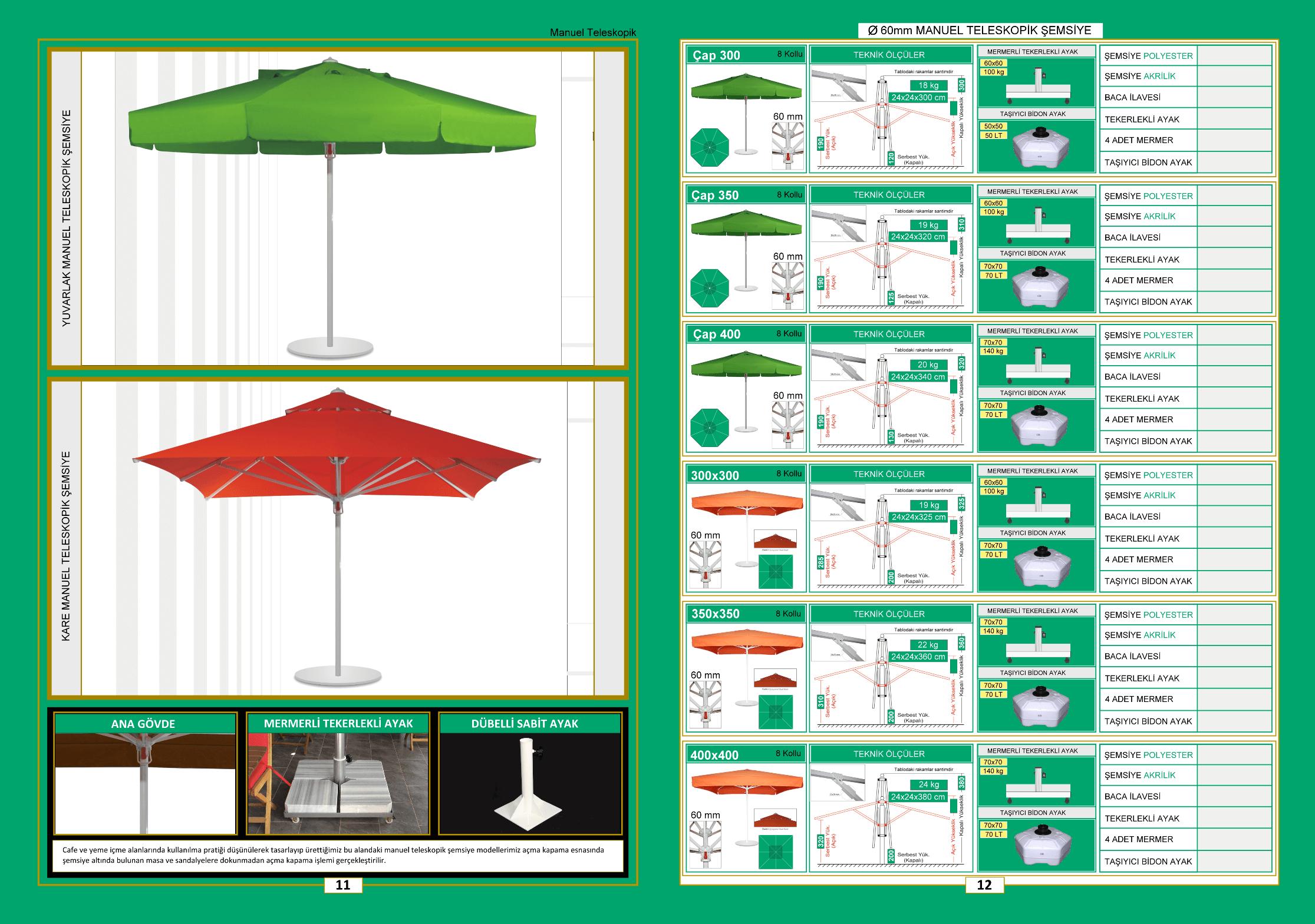 60 mm mauel teleskopik şemsiye
