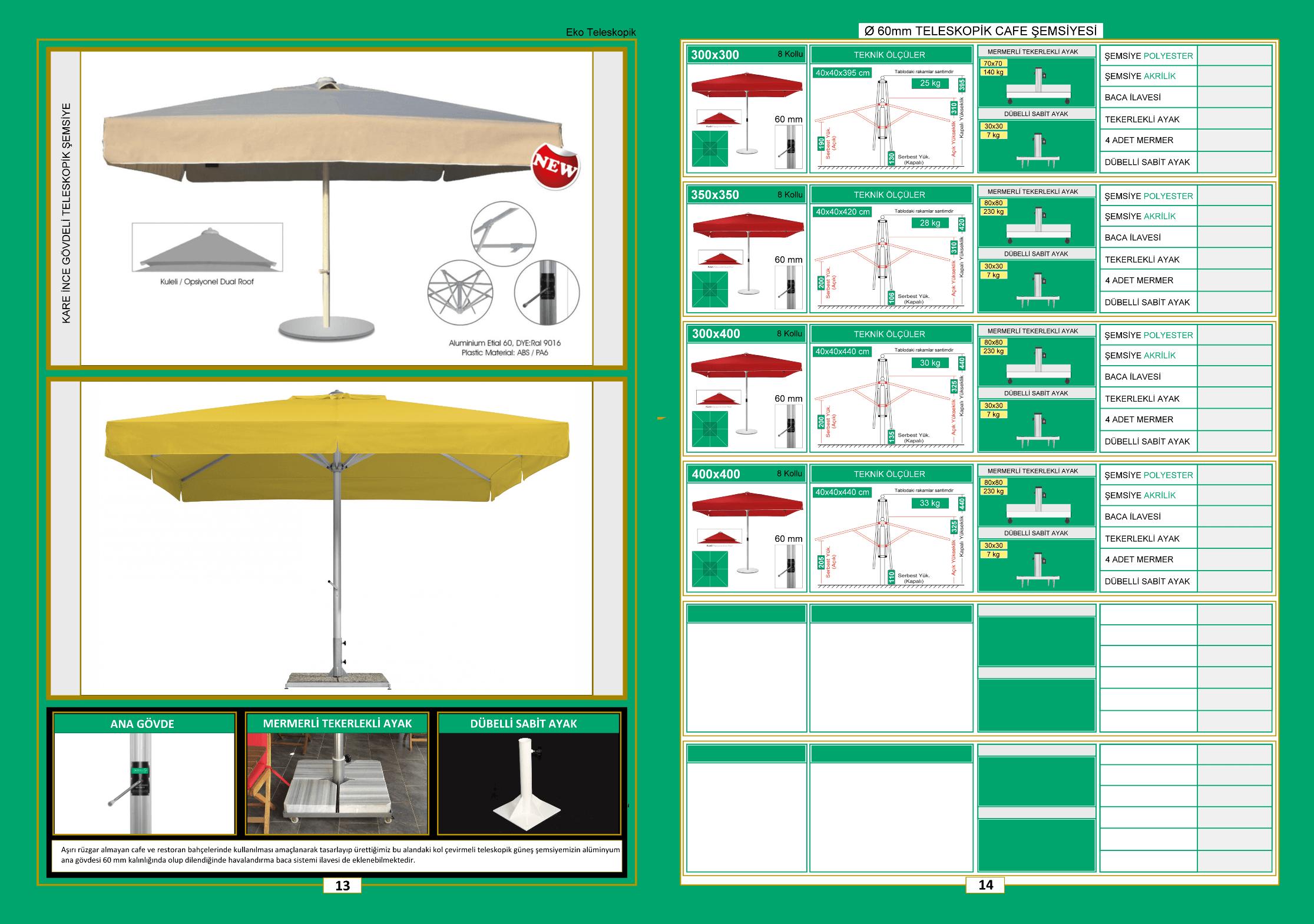 60 mm Eko teleskopik şemsiye