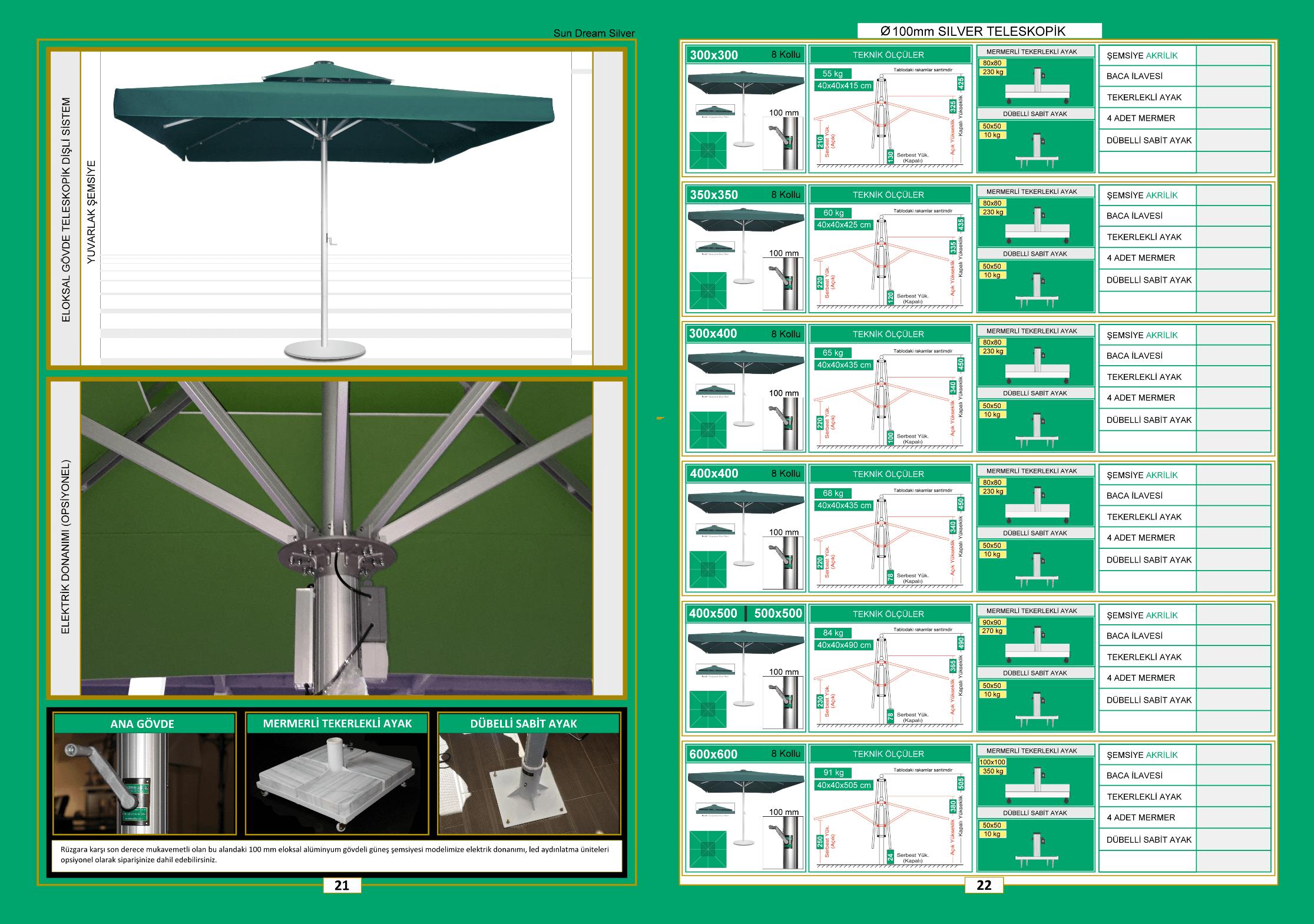 100 mm silver teleskopik kare şemsiye